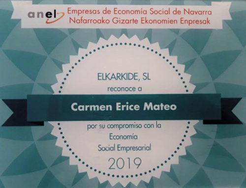 ELKARKIDE  reconoce a Carmen Erice Mateo de Fundación Argibide por su compromiso con la Economía Social